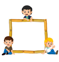 Kids on the wood frame with roots and leaf vector