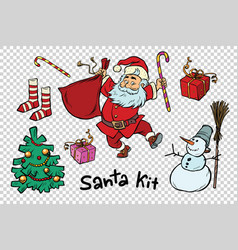 kit santa set christmas new year items and vector image