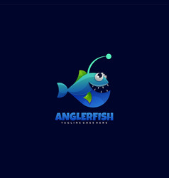 Logo angler fish gradient colorful style vector