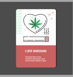 loving marijuana vertical banner with line icon of vector image