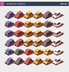 Low poly cars shown from front and back vector