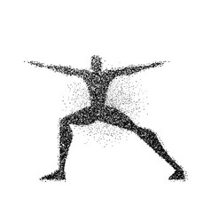 man doing yoga pose in particle dust splash vector image