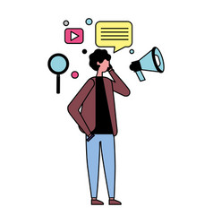 Man using mobile and social media icons vector