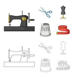 Manual sewing machine scissors maniken thimble vector