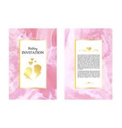 Marble wedding invitations thank you card card vector
