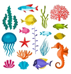 Marine life set of icons objects and sea animals vector