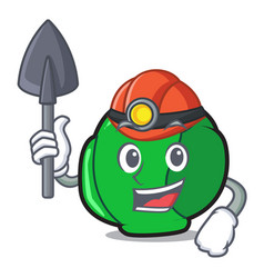 miner brussels mascot cartoon style vector image