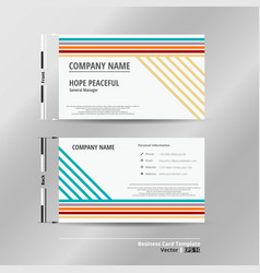 modern colorful stripe lines name card template vector image