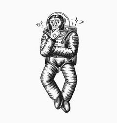 Monkey astronaut pensive thoughtful pose vector