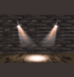 Old retro two lamp on grunge brick wall vector