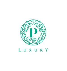 P letter logo luxurybeauty cosmetics logo vector