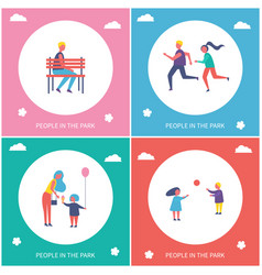 people spend time in park cartoon banner vector image