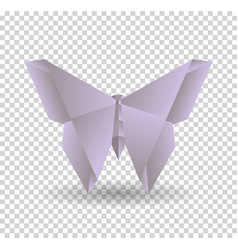 pink origami butterfly on transparent background vector image