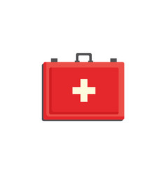 red first aid kit case with cross isolated on vector image