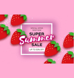 red strawberry super summer sale banner in paper vector image