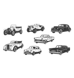 retro cars vintage motors and auto vehicle icons vector image