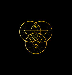Sacred geometry triangle logo overlapping circles vector