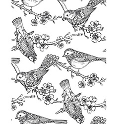 Seamless pattern with hand drawn ornate birds vector