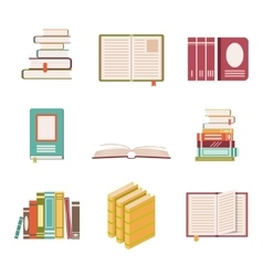 set nine book icons in flat design style vector image