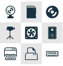 Set of 9 computer hardware icons includes vector