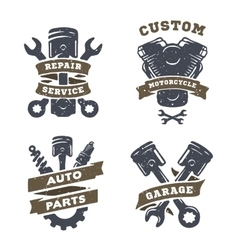Set of auto logos garage service spare parts vector image