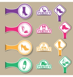 set of colored emblems with different kinds of vector image