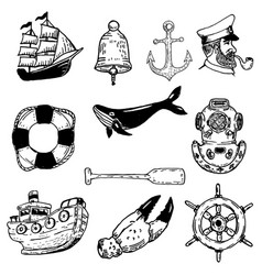 Set of hand drawn nautical elements design vector