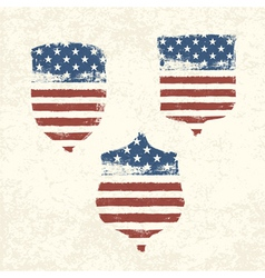 Shield shaped american flag set vector