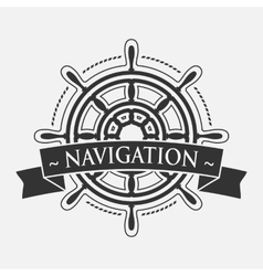 Ship steering wheel with banner vector