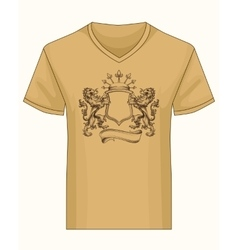 Shirt template with heraldry coat of fame vector image