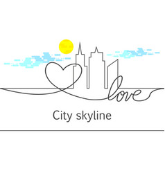 silhouette of the city and heart and love and sun vector image