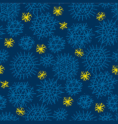 simple drawn star and snowflakes seamless pattern vector image