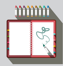 sketchbook with colorful crayons vector image