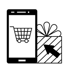 smartphone online shopping gift box market vector image