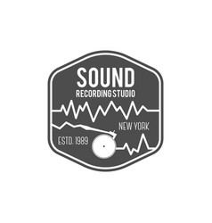 Sound recording studio label badge vector