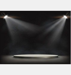 Spotlights illuminates a round empty stage vector