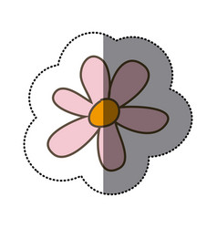 Sticker colorful pink flower floral icon vector
