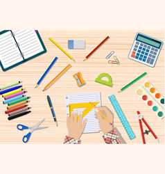 students wooden desk vector image