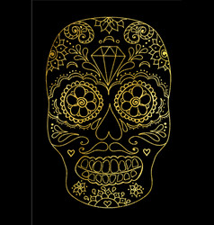 Sugar skull color t-shirt vector