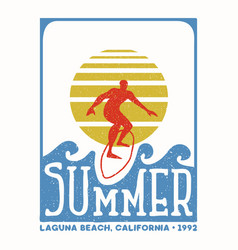 Surfer man vintage stamp from california beach vector