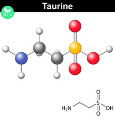 Taurine chemical formula and model vector image