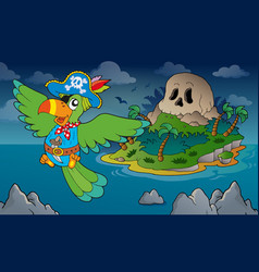 Theme with pirate skull island 4 vector