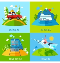 Travel transportation 4 flat icons square vector
