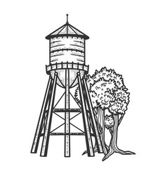 water tower sketch vector image