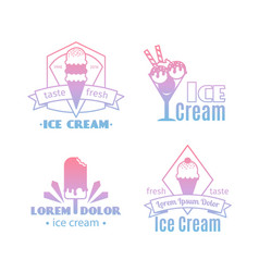 white ice cream logos vector image
