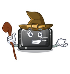 Witch tab button attached to cartoon keyboard vector