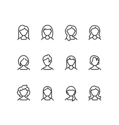 woman face line icons female profile outline vector image