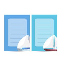 Yachting and sailing card with sailboats vector