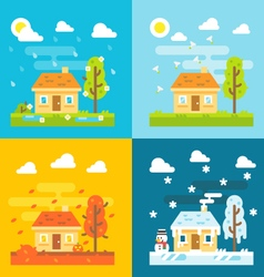4 seasons house flat design set vector image