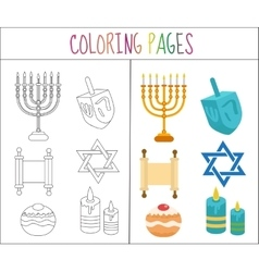 Coloring book page Hanukkah set Sketch and color vector image